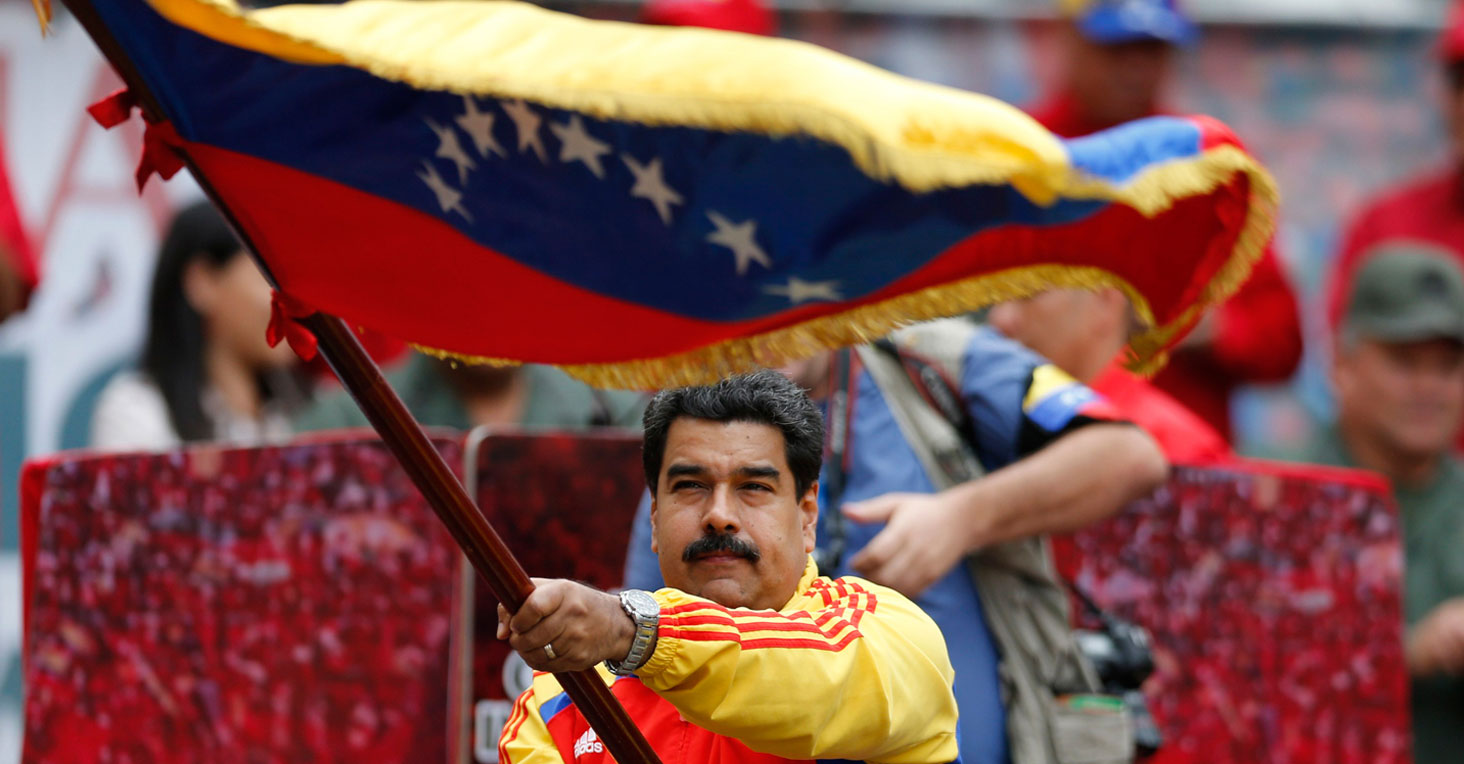 Nicolas Maduro Waving Flag